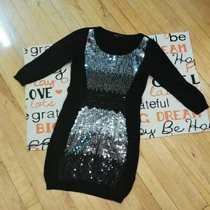 Material Girl black sweater dress size M.